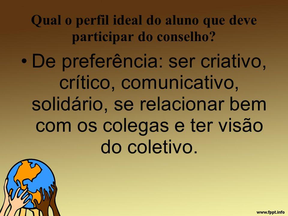 Qual o perfil ideal do aluno que deve participar do conselho? De preferência: ser criativo, crítico, comunicativo, solidário, se relacionar bem com os