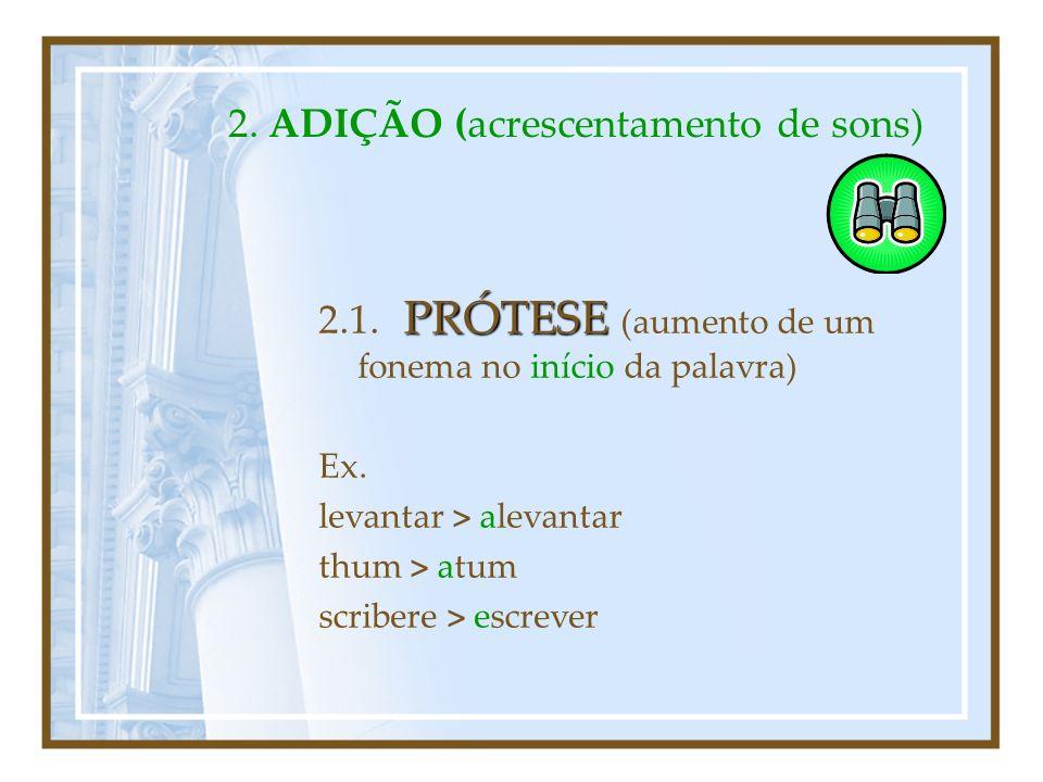 2. Fenómenos Fonéticos de ADIÇÃO I.PRÓTESE (início) II.EPÊNTESE (meio) III.PARAGOGE (fim)