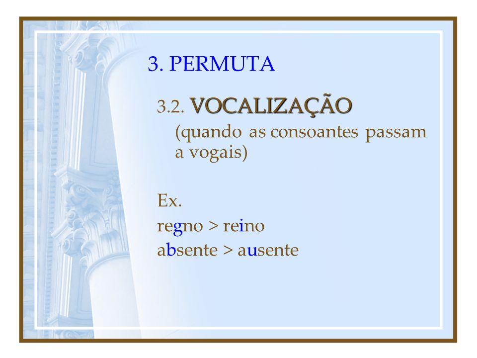 3. PERMUTA METÁTESE 3.1. METÁTESE (mudança de lugar de fonemas dentro da palavra) Ex. feria > feira inter > entre