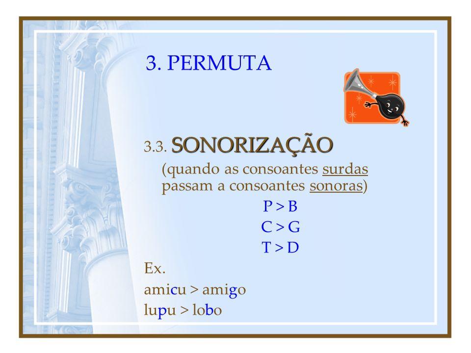 3. PERMUTA VOCALIZAÇÃO 3.2. VOCALIZAÇÃO (quando as consoantes passam a vogais) Ex. regno > reino absente > ausente