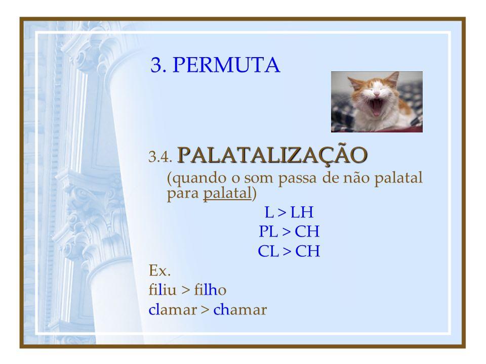3. PERMUTA SONORIZAÇÃO 3.3. SONORIZAÇÃO (quando as consoantes surdas passam a consoantes sonoras) P > B C > G T > D Ex. amicu > amigo lupu > lobo