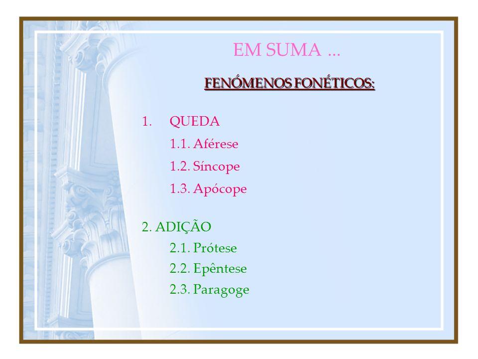 3. PERMUTA CONTRACÇÃO 3.6. CONTRACÇÃO (só com vogais) CRASE 3.6.1. CRASE (duas vogais > uma vogal) Ex. pede > pee > pé SINÉRESE 3.6.2. SINÉRESE (duas