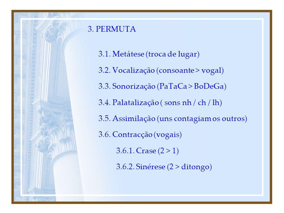 EM SUMA... FENÓMENOS FONÉTICOS: 1.QUEDA 1.1. Aférese 1.2. Síncope 1.3. Apócope 2. ADIÇÃO 2.1. Prótese 2.2. Epêntese 2.3. Paragoge
