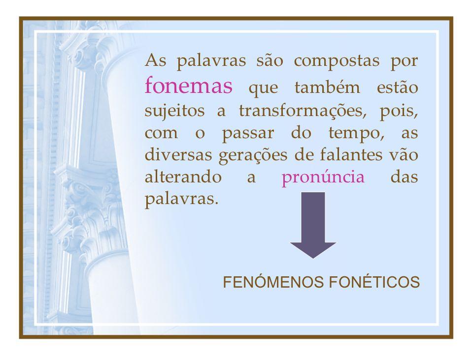 EVOLUÇÃO FONÉTICA Fenómenos Fonéticos