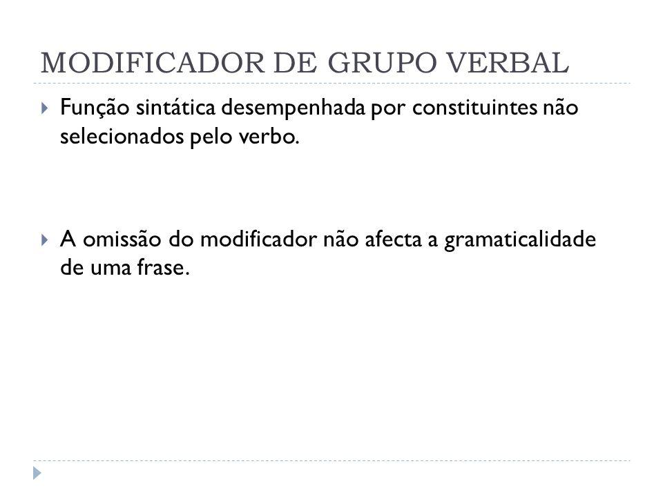 MODIFICADOR DE GRUPO VERBAL Função sintática desempenhada por constituintes não selecionados pelo verbo. A omissão do modificador não afecta a gramati