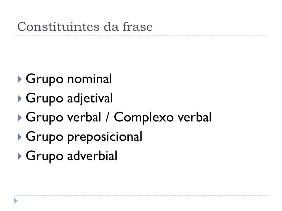 Constituintes da frase Grupo nominal Grupo adjetival Grupo verbal / Complexo verbal Grupo preposicional Grupo adverbial