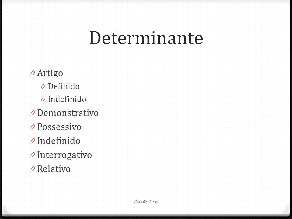 Determinante 0 Artigo 0 Definido 0 Indefinido 0 Demonstrativo 0 Possessivo 0 Indefinido 0 Interrogativo 0 Relativo Elisete Brás