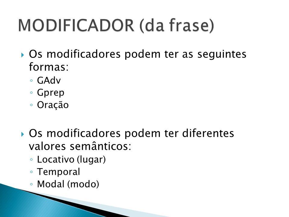 Os modificadores podem ter as seguintes formas: GAdv Gprep Oração Os modificadores podem ter diferentes valores semânticos: Locativo (lugar) Temporal