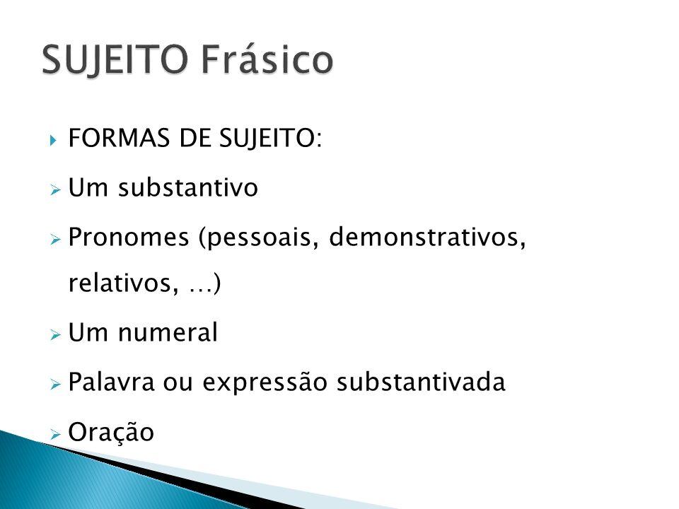 FORMAS DE SUJEITO: Um substantivo Pronomes (pessoais, demonstrativos, relativos, …) Um numeral Palavra ou expressão substantivada Oração