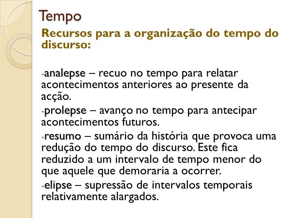 Tempo Recursos para a organização do tempo do discurso: - analepse - analepse – recuo no tempo para relatar acontecimentos anteriores ao presente da a
