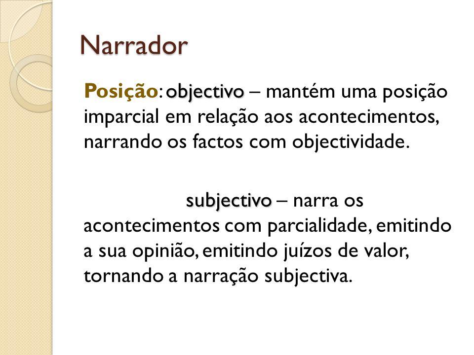 Narrador objectivo Posição: objectivo – mantém uma posição imparcial em relação aos acontecimentos, narrando os factos com objectividade. subjectivo s