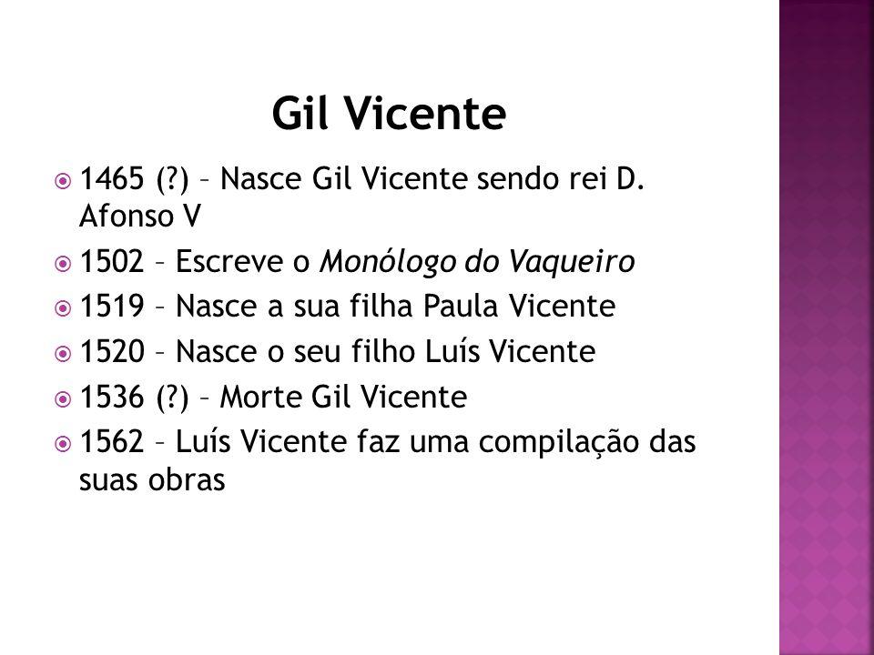 1465 (?) – Nasce Gil Vicente sendo rei D. Afonso V 1502 – Escreve o Monólogo do Vaqueiro 1519 – Nasce a sua filha Paula Vicente 1520 – Nasce o seu fil