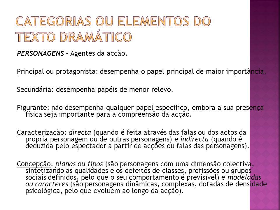 ESPAÇO – Local onde decorre a acção. No texto teatral, corresponde ao espaço de representação.