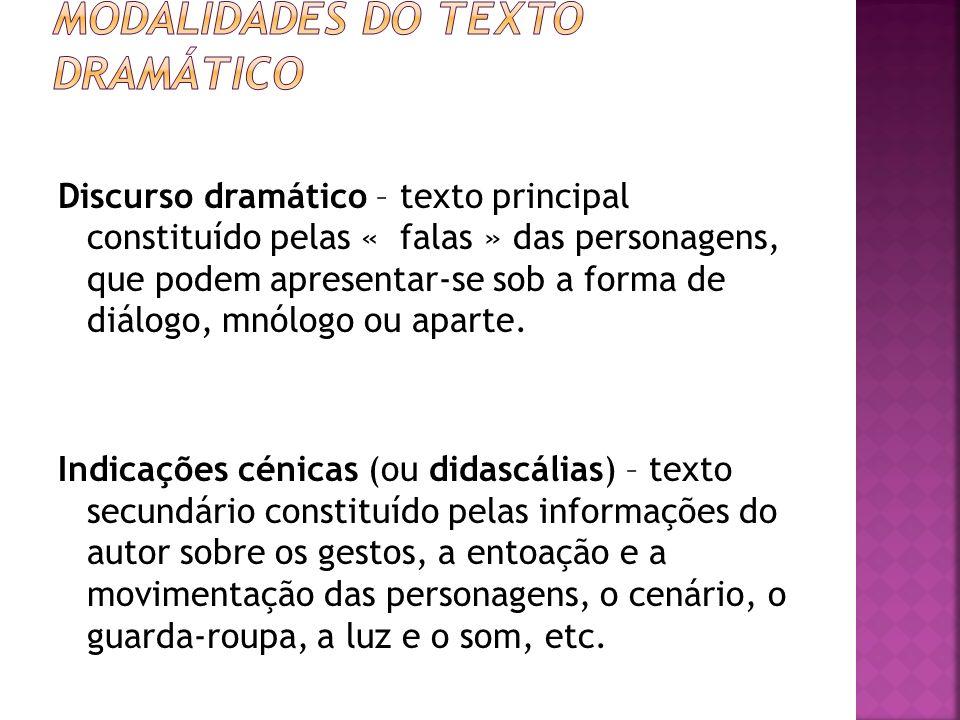 Discurso dramático – texto principal constituído pelas « falas » das personagens, que podem apresentar-se sob a forma de diálogo, mnólogo ou aparte. I