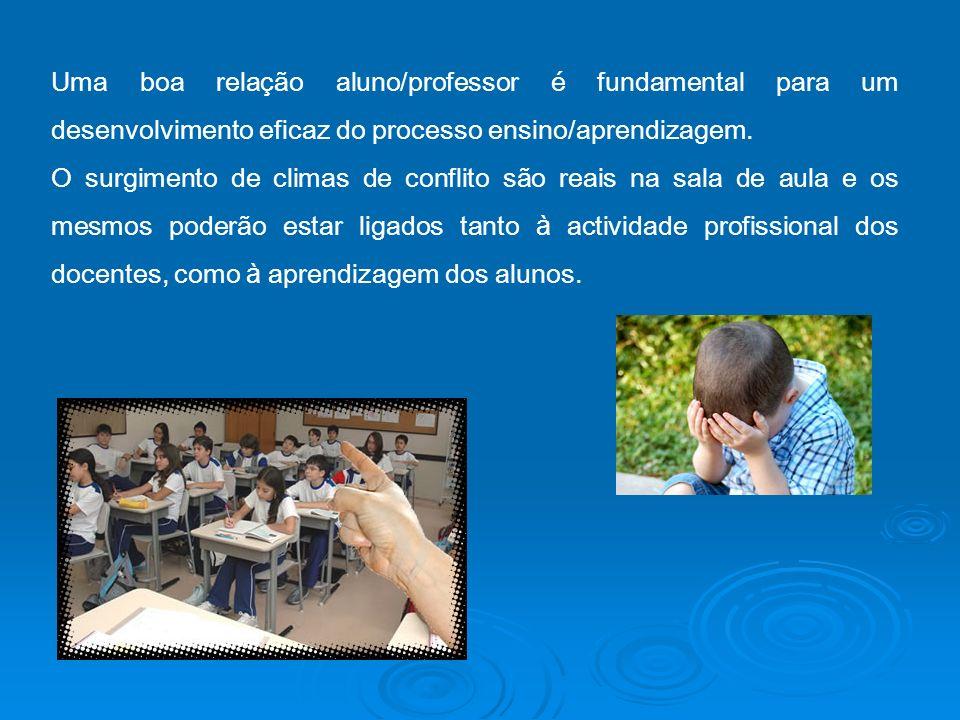 Uma boa relação aluno/professor é fundamental para um desenvolvimento eficaz do processo ensino/aprendizagem. O surgimento de climas de conflito são r