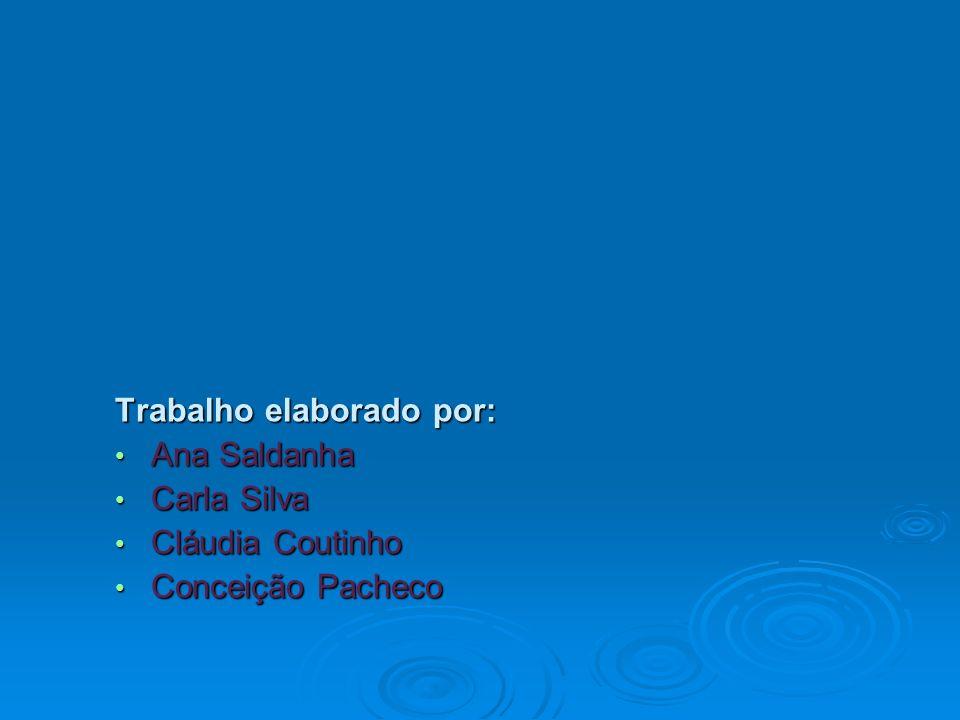 Trabalho elaborado por: Ana Saldanha Ana Saldanha Carla Silva Carla Silva Cláudia Coutinho Cláudia Coutinho Conceição Pacheco Conceição Pacheco