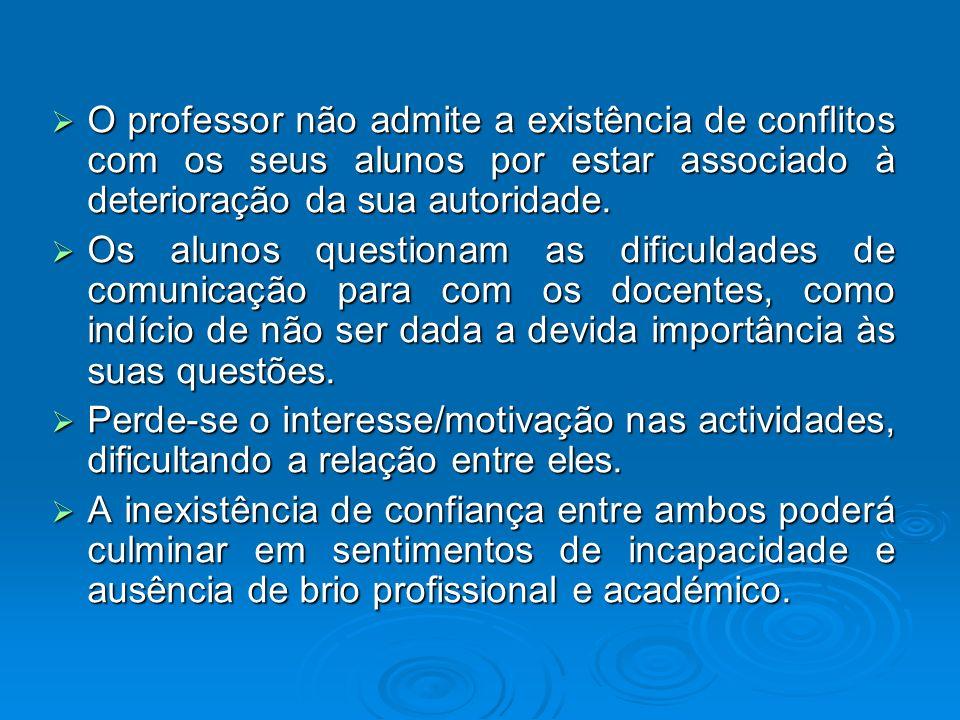 O professor não admite a existência de conflitos com os seus alunos por estar associado à deterioração da sua autoridade. O professor não admite a exi