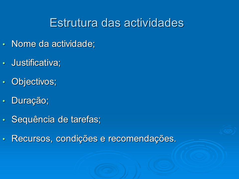 Estrutura das actividades Nome da actividade; Nome da actividade; Justificativa; Justificativa; Objectivos; Objectivos; Duração; Duração; Sequência de