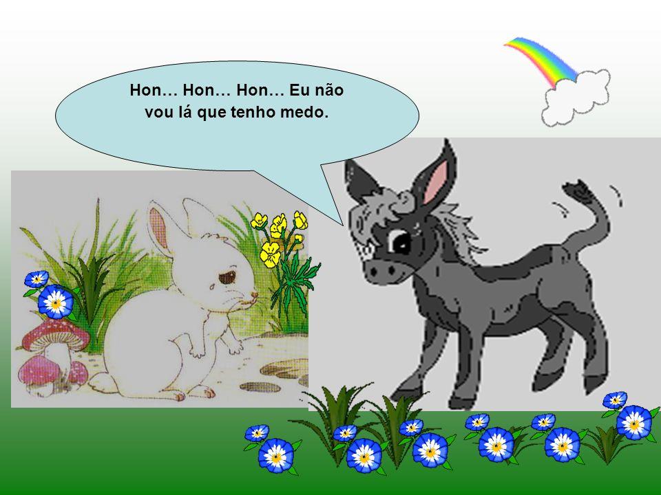 Daí a pouco o Coelhinho encontrou um burro.. Que tens tu, Coelhinho Branco? Porque vens tão triste? Eu fui à horta buscar couves para fazer um caldinh