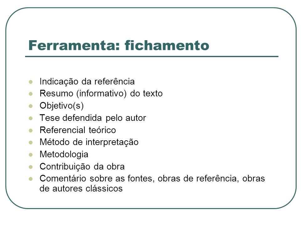 Ferramenta: fichamento Indicação da referência Resumo (informativo) do texto Objetivo(s) Tese defendida pelo autor Referencial teórico Método de inter