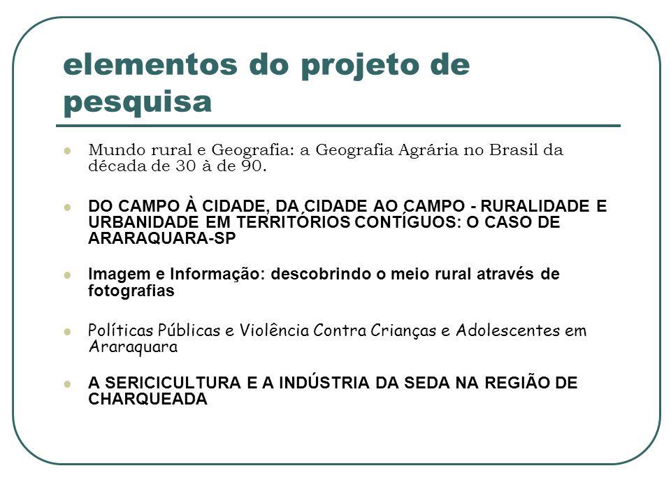 elementos do projeto de pesquisa Mundo rural e Geografia: a Geografia Agrária no Brasil da década de 30 à de 90. DO CAMPO À CIDADE, DA CIDADE AO CAMPO