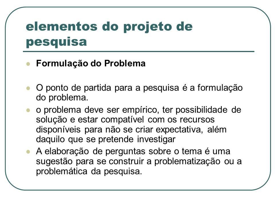 elementos do projeto de pesquisa Formulação do Problema O ponto de partida para a pesquisa é a formulação do problema. o problema deve ser empírico, t