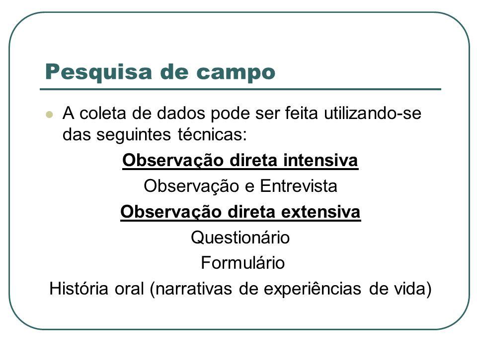 A coleta de dados pode ser feita utilizando-se das seguintes técnicas: Observação direta intensiva Observação e Entrevista Observação direta extensiva