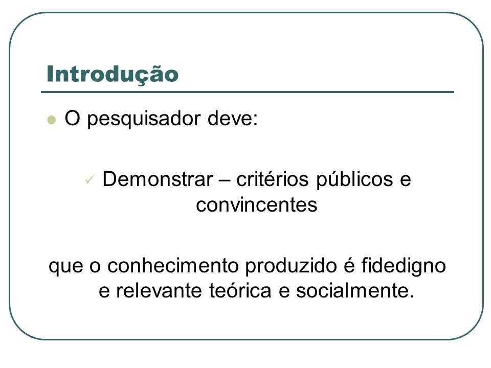 Introdução O pesquisador deve: Demonstrar – critérios públicos e convincentes que o conhecimento produzido é fidedigno e relevante teórica e socialmen
