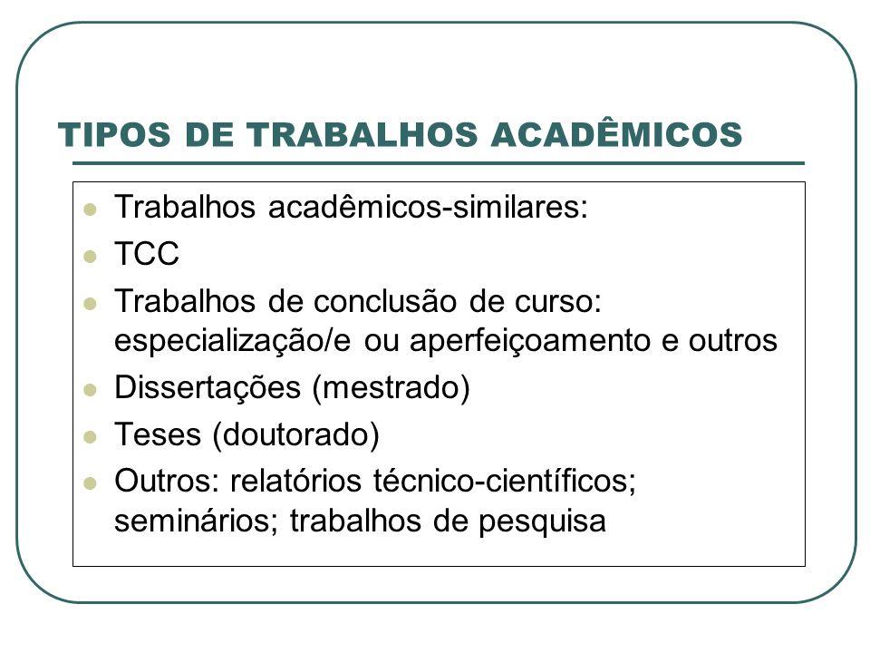 TIPOS DE TRABALHOS ACADÊMICOS Trabalhos acadêmicos-similares: TCC Trabalhos de conclusão de curso: especialização/e ou aperfeiçoamento e outros Disser