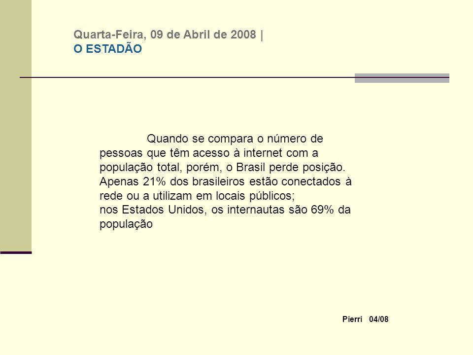 Pierri 04/08 Quando se compara o número de pessoas que têm acesso à internet com a população total, porém, o Brasil perde posição.