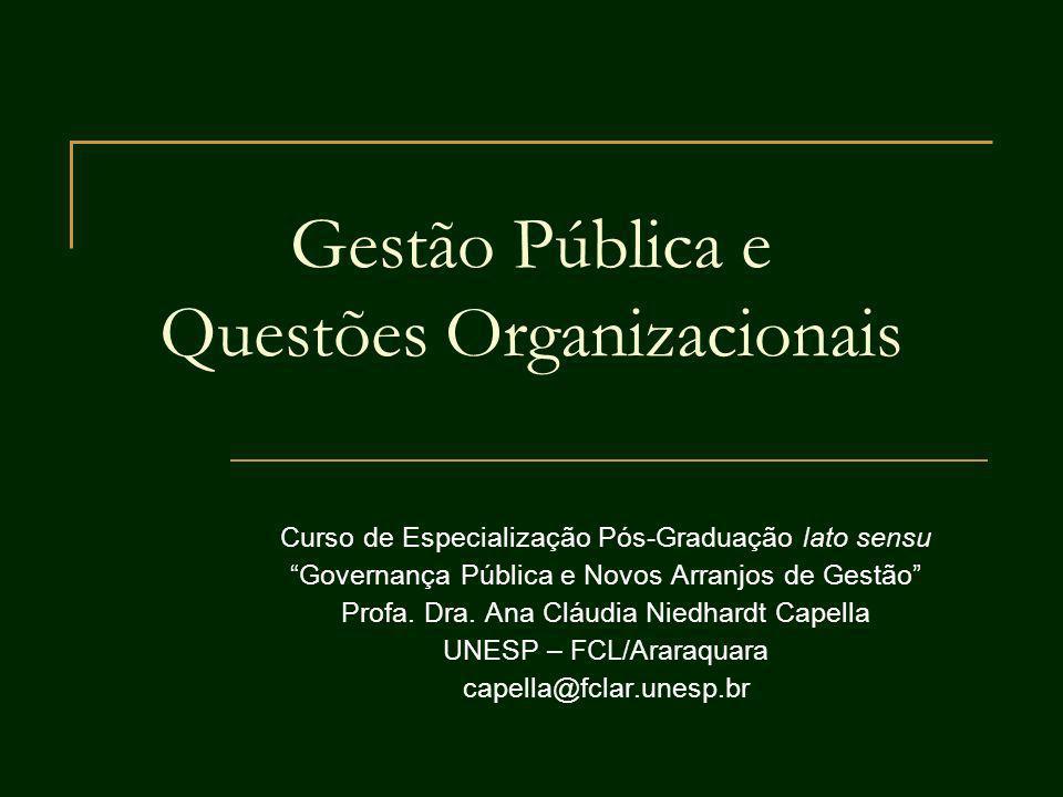 Gestão Pública e Questões Organizacionais Curso de Especialização Pós-Graduação lato sensu Governança Pública e Novos Arranjos de Gestão Profa. Dra. A