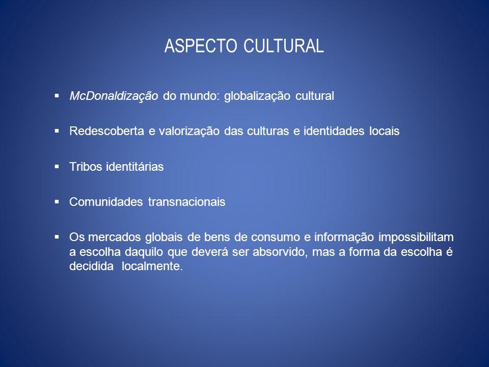 ASPECTO CULTURAL McDonaldização do mundo: globalização cultural Redescoberta e valorização das culturas e identidades locais Tribos identitárias Comun