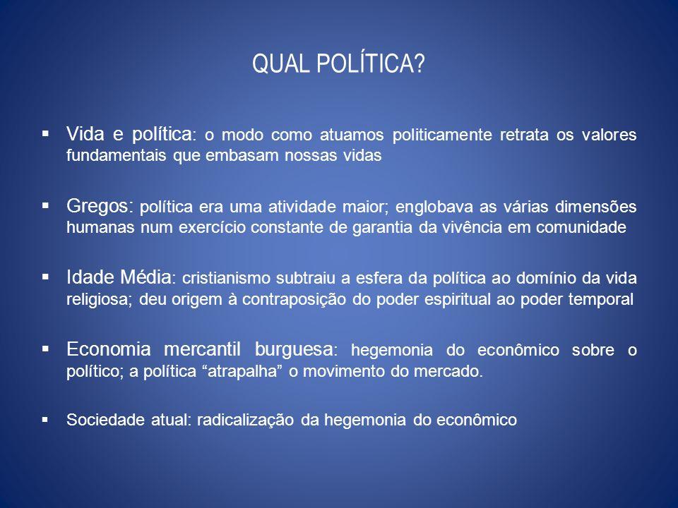QUAL POLÍTICA? Vida e política : o modo como atuamos politicamente retrata os valores fundamentais que embasam nossas vidas Gregos: política era uma a