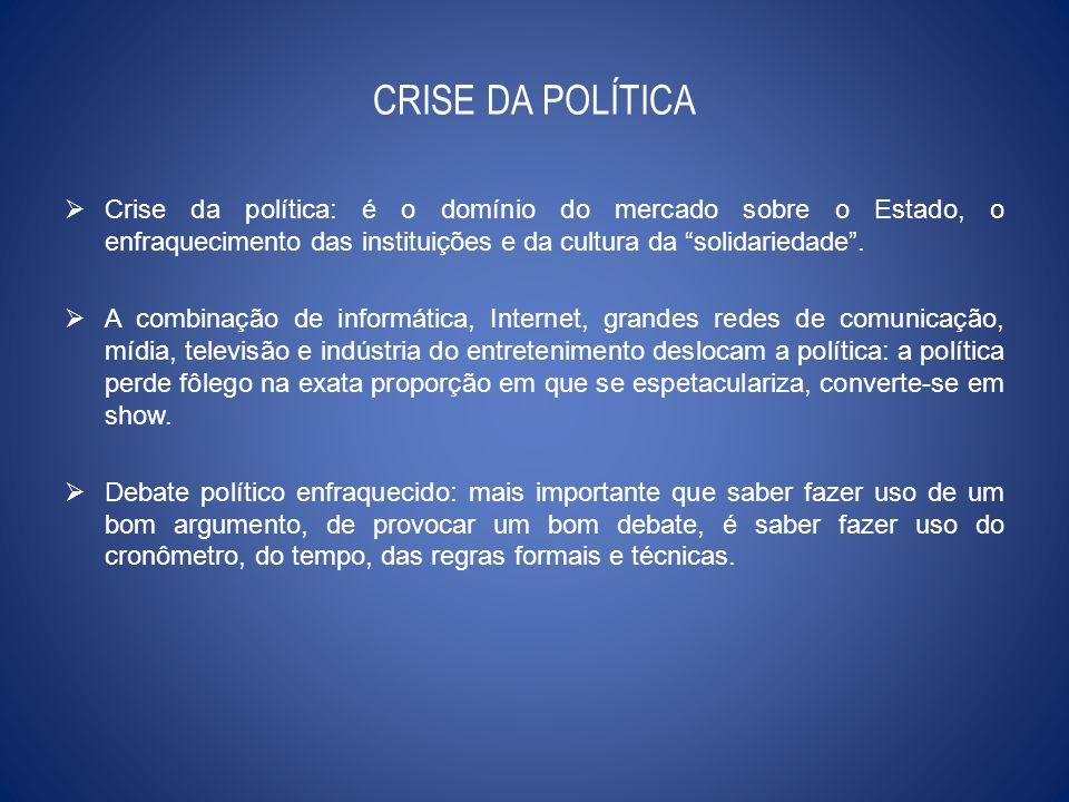 CRISE DA POLÍTICA Crise da política: é o domínio do mercado sobre o Estado, o enfraquecimento das instituições e da cultura da solidariedade. A combin
