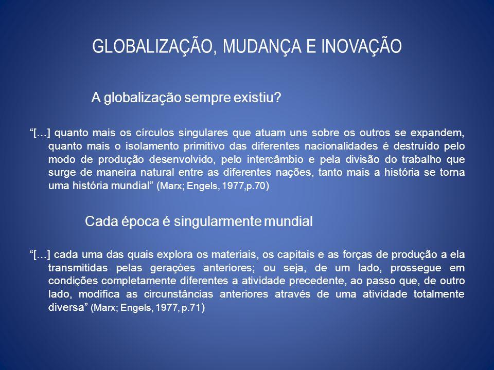 GLOBALIZAÇÃO, MUDANÇA E INOVAÇÃO A globalização sempre existiu? […] quanto mais os círculos singulares que atuam uns sobre os outros se expandem, quan