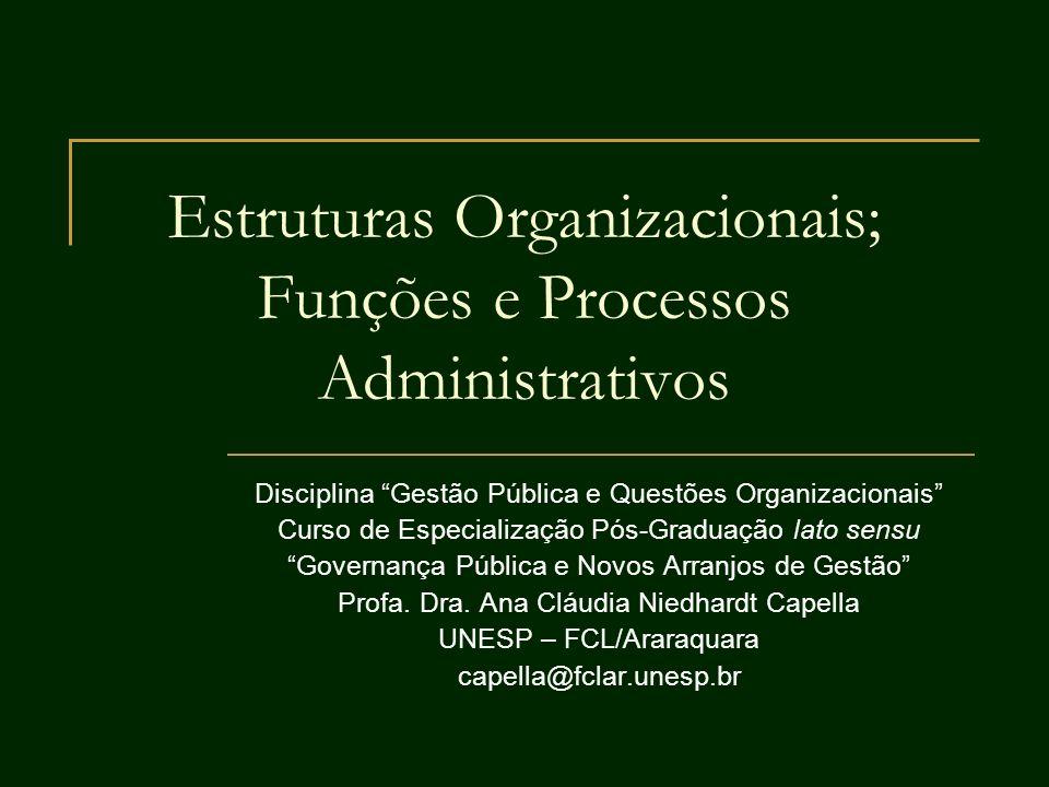 Estruturas Organizacionais; Funções e Processos Administrativos Disciplina Gestão Pública e Questões Organizacionais Curso de Especialização Pós-Gradu