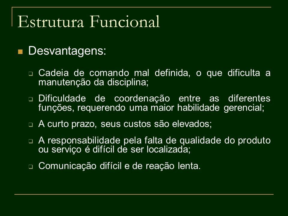 Estrutura Funcional Desvantagens: Cadeia de comando mal definida, o que dificulta a manutenção da disciplina; Dificuldade de coordenação entre as dife