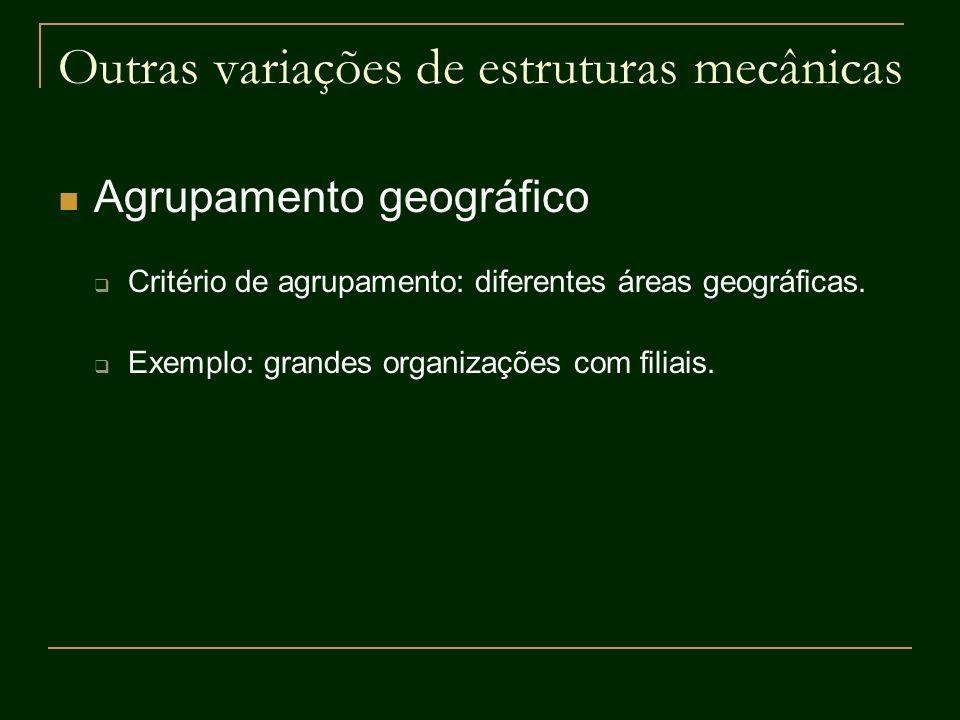 Outras variações de estruturas mecânicas Agrupamento geográfico Critério de agrupamento: diferentes áreas geográficas. Exemplo: grandes organizações c