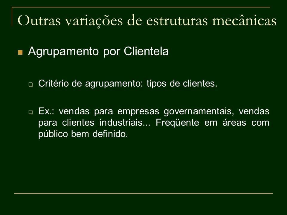 Outras variações de estruturas mecânicas Agrupamento por Clientela Critério de agrupamento: tipos de clientes. Ex.: vendas para empresas governamentai