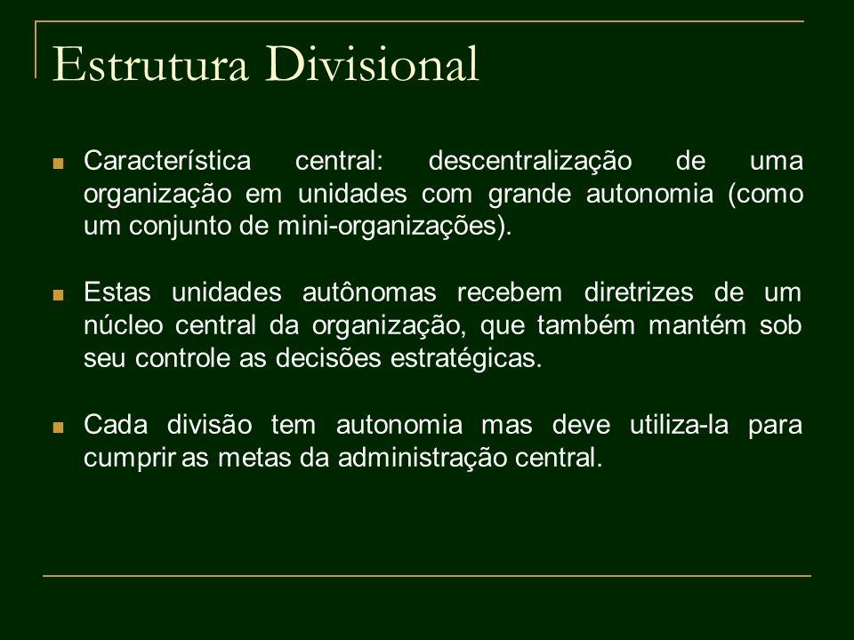Estrutura Divisional Característica central: descentralização de uma organização em unidades com grande autonomia (como um conjunto de mini-organizaçõ