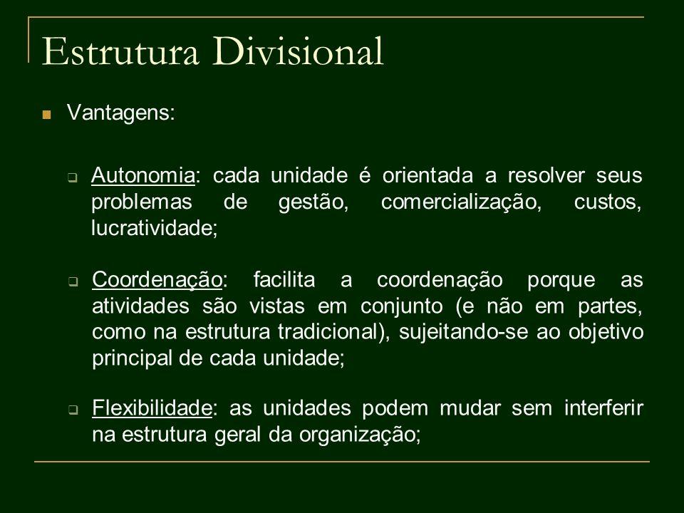 Estrutura Divisional Vantagens: Autonomia: cada unidade é orientada a resolver seus problemas de gestão, comercialização, custos, lucratividade; Coord