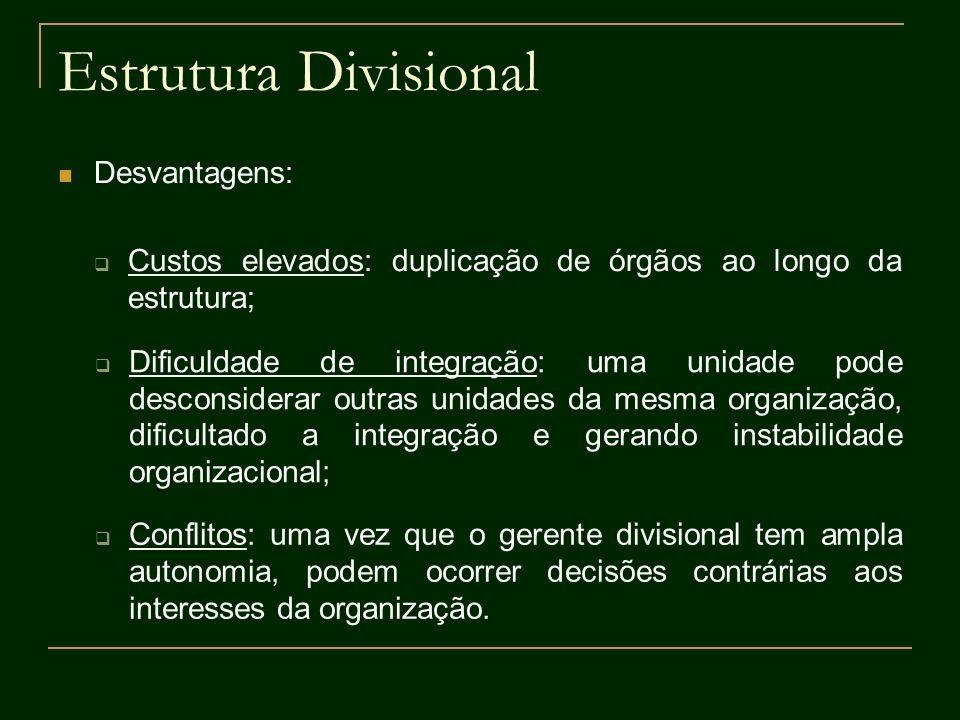 Estrutura Divisional Desvantagens: Custos elevados: duplicação de órgãos ao longo da estrutura; Dificuldade de integração: uma unidade pode desconside
