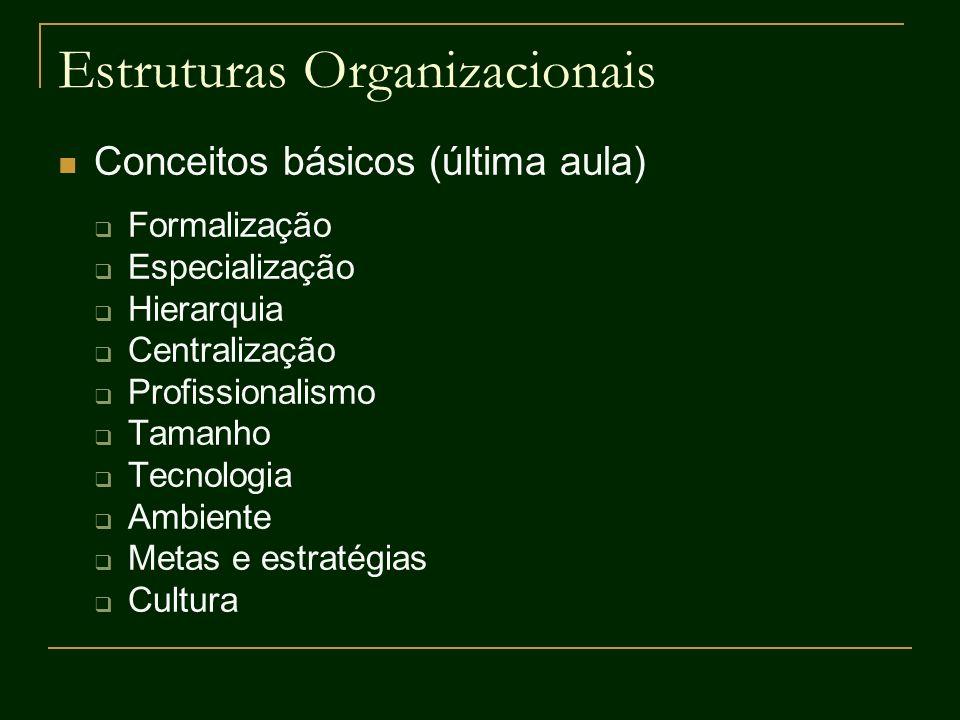 Estruturas Organizacionais Conceitos básicos (última aula) Formalização Especialização Hierarquia Centralização Profissionalismo Tamanho Tecnologia Am