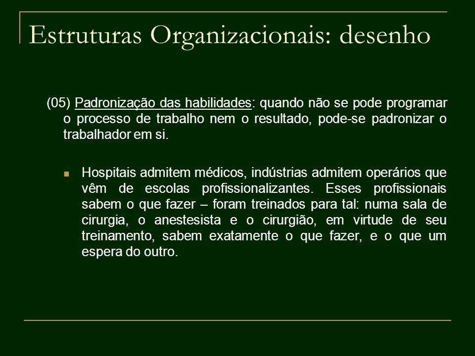 Estruturas Organizacionais: desenho (05) Padronização das habilidades: quando não se pode programar o processo de trabalho nem o resultado, pode-se pa