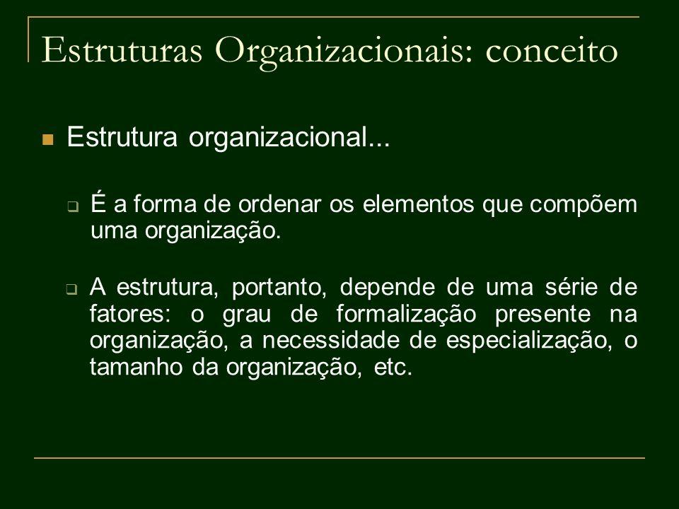 Estruturas Organizacionais: conceito Estrutura organizacional... É a forma de ordenar os elementos que compõem uma organização. A estrutura, portanto,