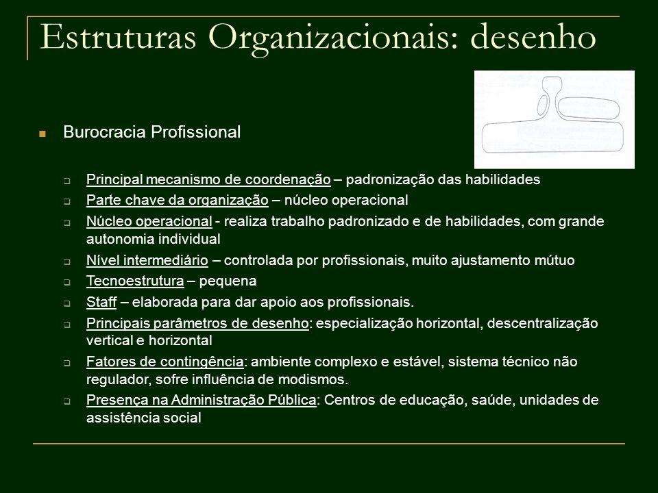 Estruturas Organizacionais: desenho Burocracia Profissional Principal mecanismo de coordenação – padronização das habilidades Parte chave da organizaç