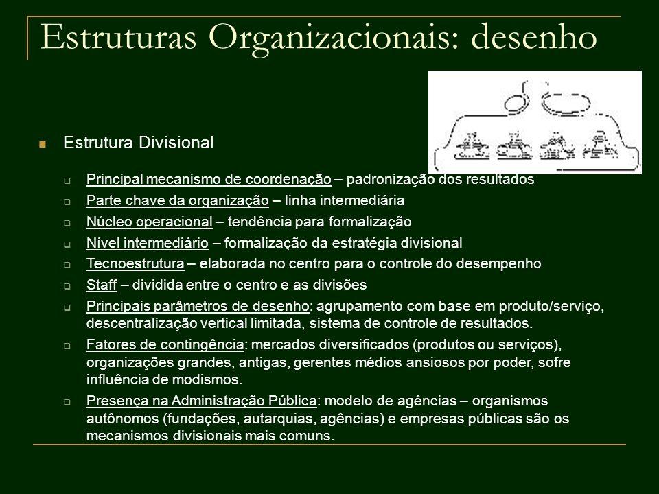 Estruturas Organizacionais: desenho Estrutura Divisional Principal mecanismo de coordenação – padronização dos resultados Parte chave da organização –