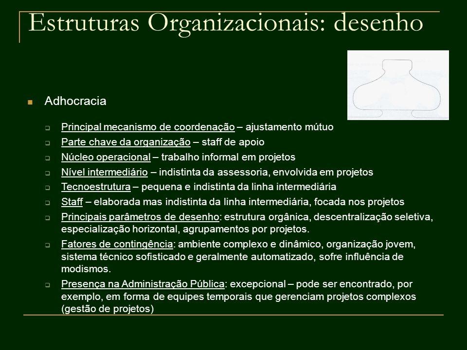 Estruturas Organizacionais: desenho Adhocracia Principal mecanismo de coordenação – ajustamento mútuo Parte chave da organização – staff de apoio Núcl