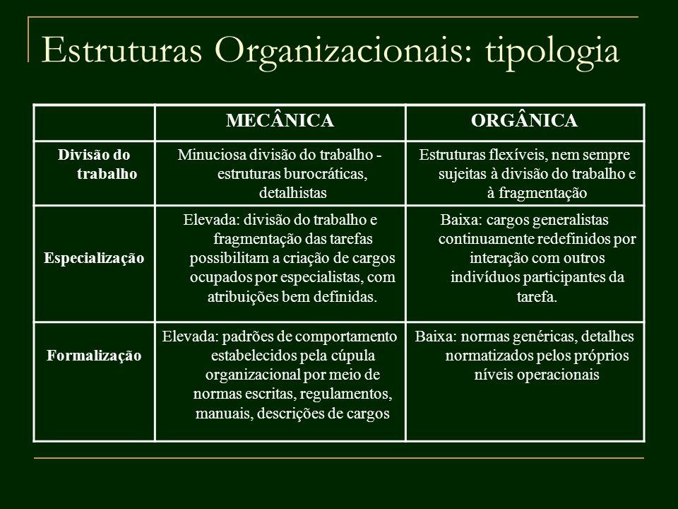 Estruturas Organizacionais: tipologia MECÂNICAORGÂNICA Divisão do trabalho Minuciosa divisão do trabalho - estruturas burocráticas, detalhistas Estrut