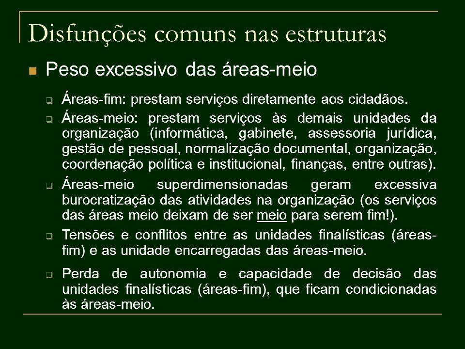 Disfunções comuns nas estruturas Peso excessivo das áreas-meio Áreas-fim: prestam serviços diretamente aos cidadãos. Áreas-meio: prestam serviços às d